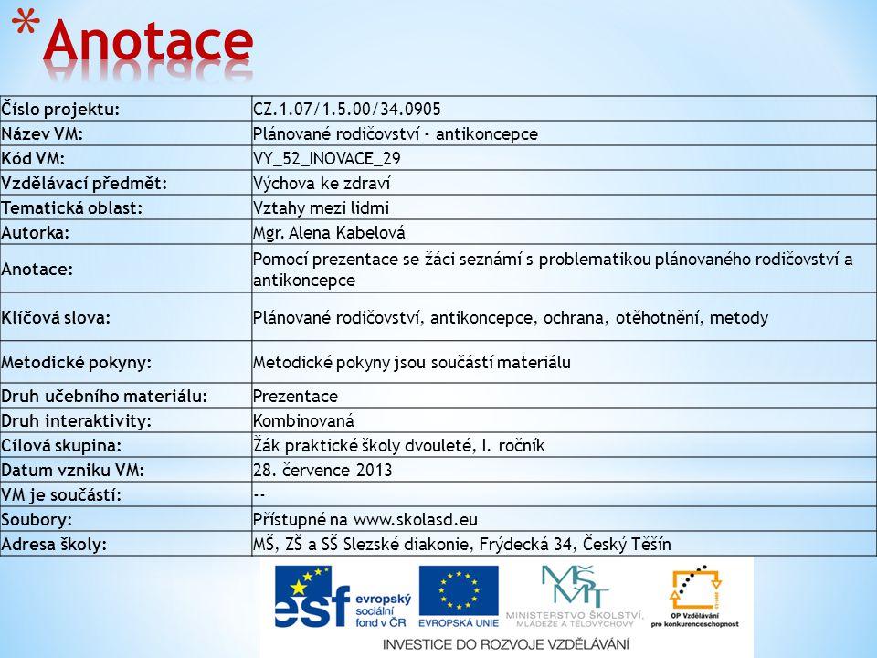 Číslo projektu:CZ.1.07/1.5.00/34.0905 Název VM:Plánované rodičovství - antikoncepce Kód VM:VY_52_INOVACE_29 Vzdělávací předmět:Výchova ke zdraví Temat