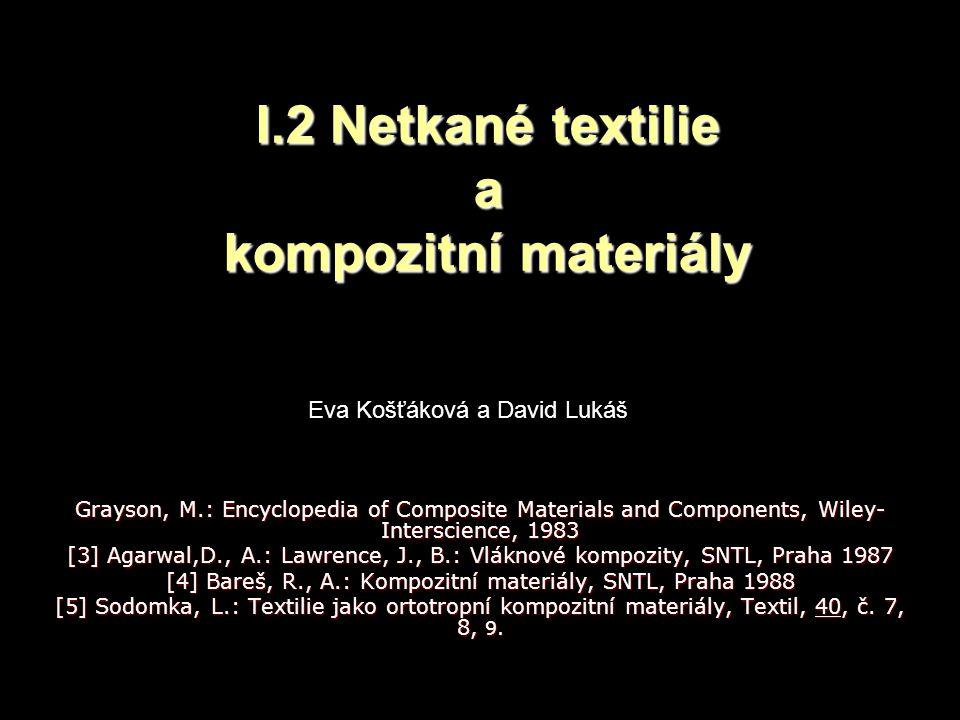 I.2 Netkané textilie a kompozitní materiály Grayson, M.: Encyclopedia of Composite Materials and Components, Wiley- Interscience, 1983 [3] Agarwal,D., A.: Lawrence, J., B.: Vláknové kompozity, SNTL, Praha 1987 [4] Bareš, R., A.: Kompozitní materiály, SNTL, Praha 1988 [5] Sodomka, L.: Textilie jako ortotropní kompozitní materiály, Textil, 40, č.
