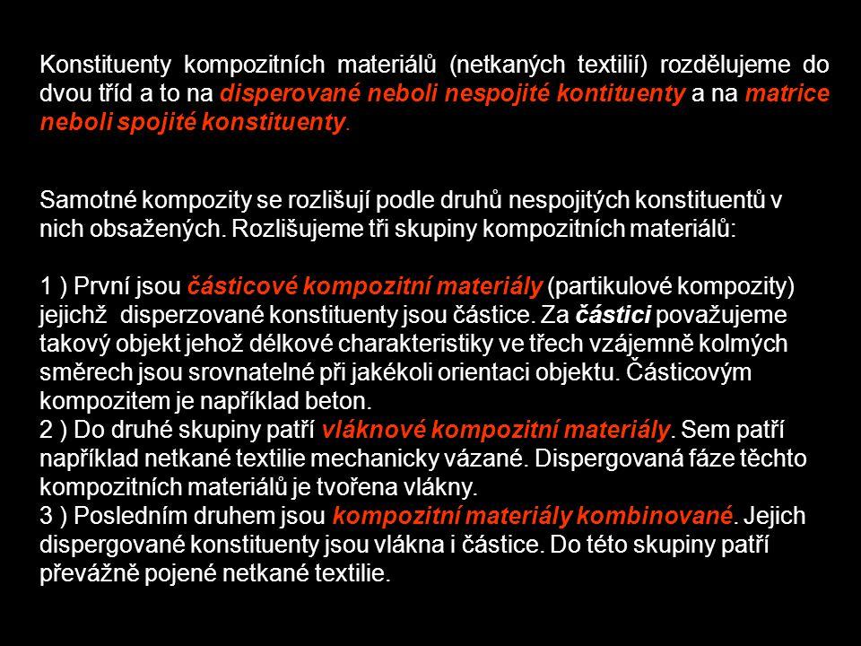Konstituenty kompozitních materiálů (netkaných textilií) rozdělujeme do dvou tříd a to na disperované neboli nespojité kontituenty a na matrice neboli spojité konstituenty.