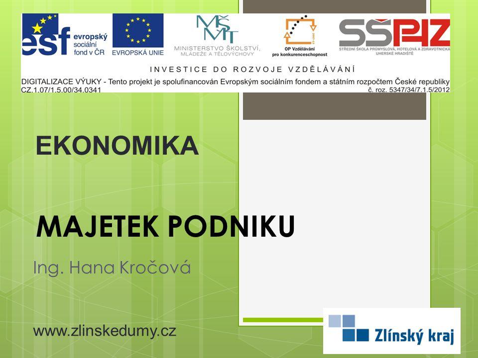 MAJETEK PODNIKU Ing. Hana Kročová EKONOMIKA www.zlinskedumy.cz