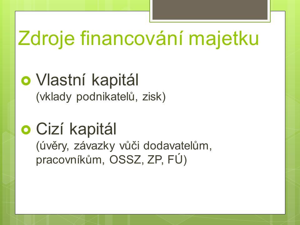 Zdroje financování majetku  Vlastní kapitál (vklady podnikatelů, zisk)  Cizí kapitál (úvěry, závazky vůči dodavatelům, pracovníkům, OSSZ, ZP, FÚ)
