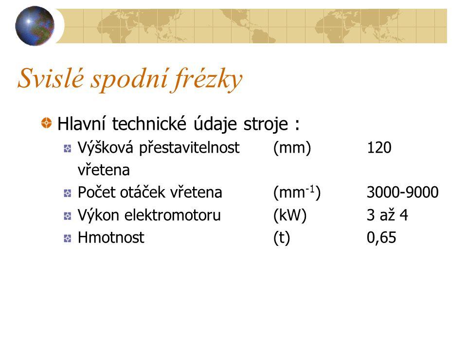 Svislé spodní frézky Na stojanu je uložen pracovní stůl, na který lze umístit buď vodící pravítko a přírubu pro válečkový posouvač, nebo opěrnou konzolu s ramenem pro uložení prodloužené části horního frézovacího vřetena při použití čepovacích nástrojů.