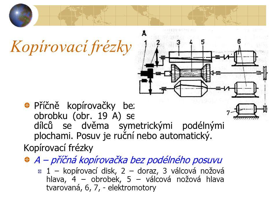 Kopírovací frézky Kopírovací frézky se dělí na příčné kopírovačky pro obvodové kopírování bez podélného posuvu dílce nebo nástroje a na kopírovačky s