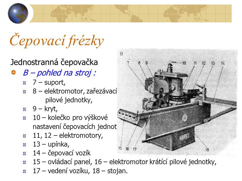 Čepovací frézky Jednostranná čepovačka A – schéma stroje 1 – čepovací vozík, 2 – krátící pilový kotouč, 3 – zařezávací pilový kotouč, 4, 5, 6 – diskové čepovací frézy