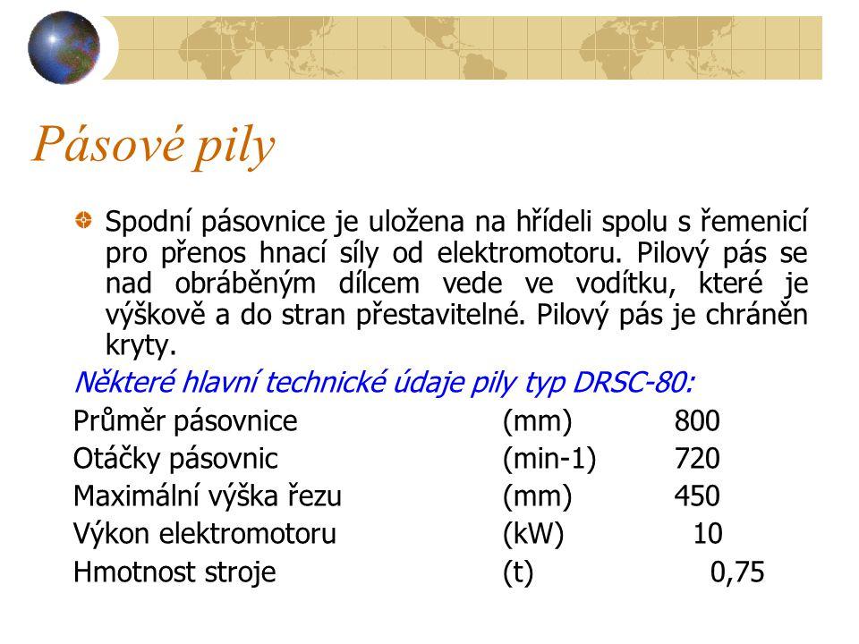 Pásové pily Truhlářská pásová pila je uvedena na obrázku 11 ( viděli jsme ji na předcházející straně ).