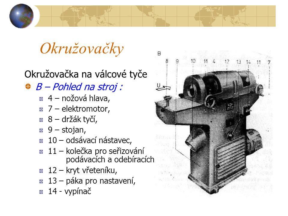 Okružovačky Okružovačka na válcové tyče A – schéma stroje : 1 – odebírací válce pro kruhový průřez tyče, 2 – klínová řemenice, 3 – dutá hřídel, 4 – nožová hlava, 5 – obrobek, 6 – podávací válce pro hranolů průřez tyče, 7 – elektromotor,