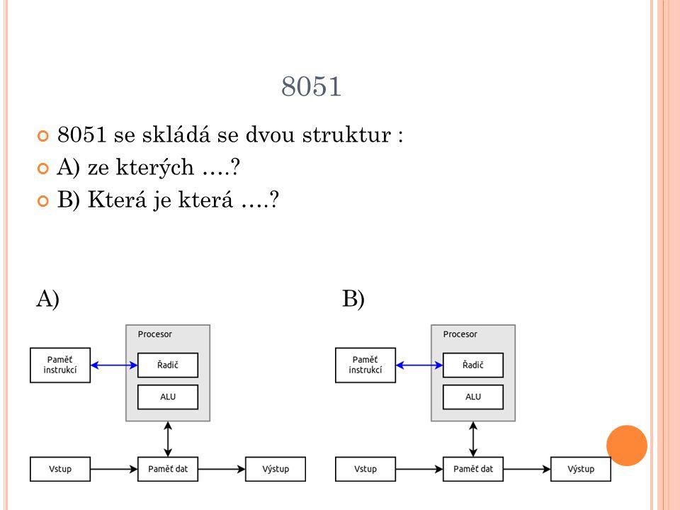 8051 8051 se skládá se dvou struktur : A) ze kterých ….? B) Která je která ….? A) B)