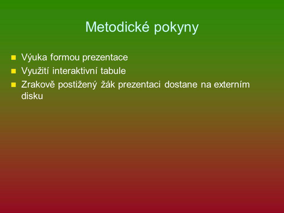 Metodické pokyny Výuka formou prezentace Využití interaktivní tabule Zrakově postižený žák prezentaci dostane na externím disku