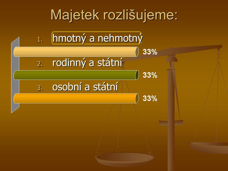 Majetek rozlišujeme: 1. hmotný a nehmotný 2. rodinný a státní 3. osobní a státní