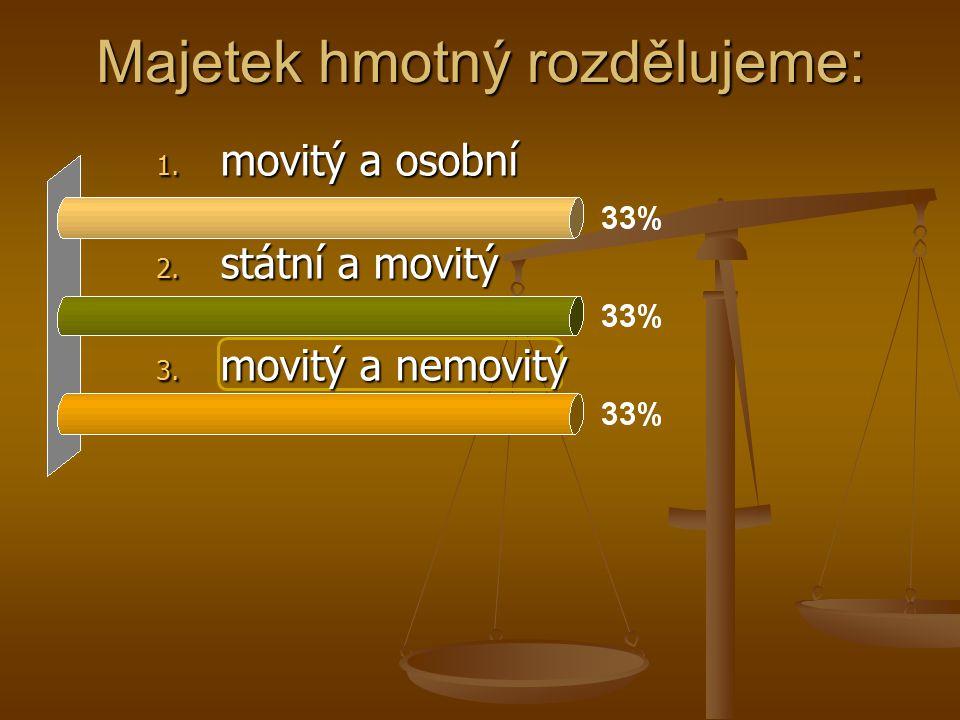 Majetek hmotný rozdělujeme: 1. movitý a osobní 2. státní a movitý 3. movitý a nemovitý