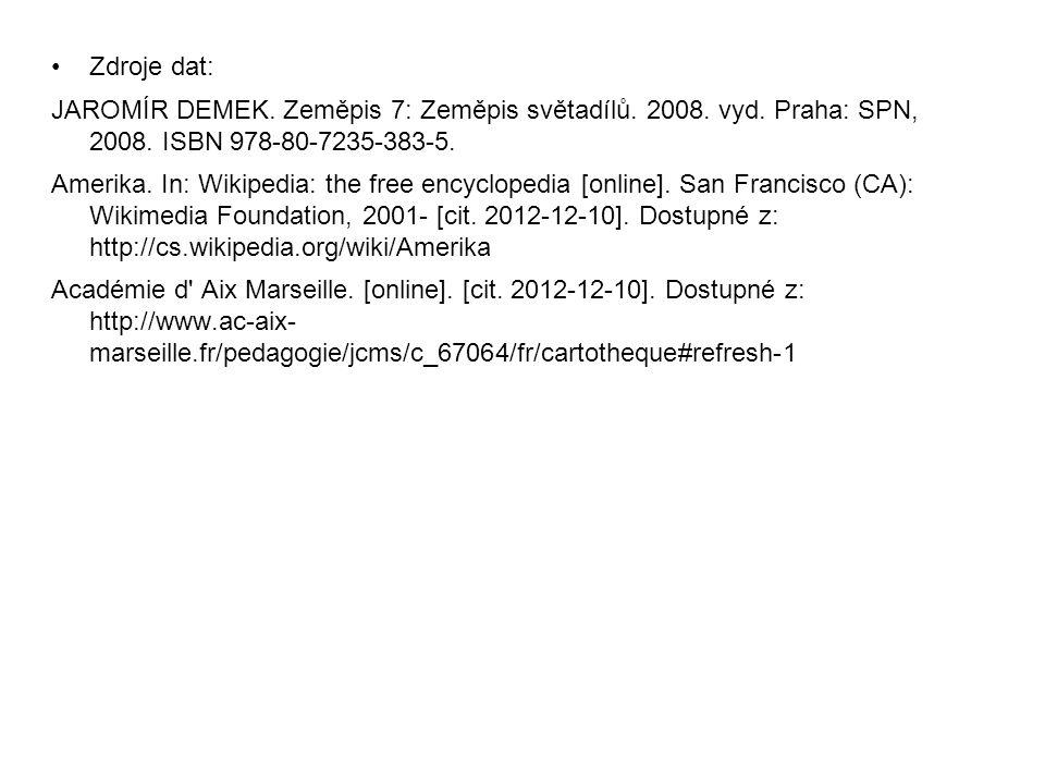 Zdroje dat: JAROMÍR DEMEK. Zeměpis 7: Zeměpis světadílů. 2008. vyd. Praha: SPN, 2008. ISBN 978-80-7235-383-5. Amerika. In: Wikipedia: the free encyclo