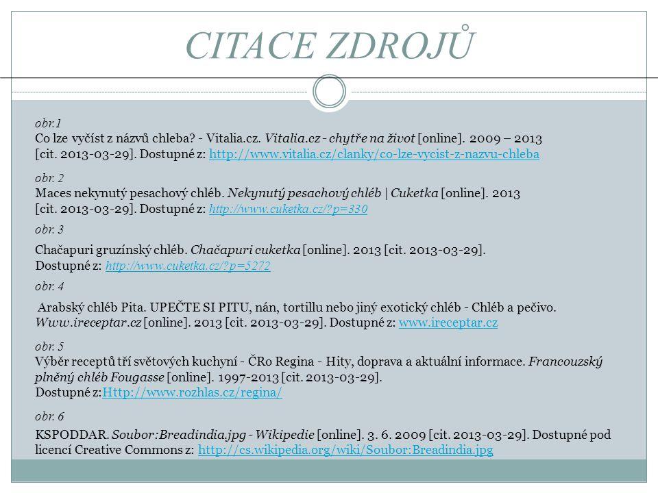 CITACE ZDROJŮ obr.1 Co lze vyčíst z názvů chleba? - Vitalia.cz. Vitalia.cz - chytře na život [online]. 2009 – 2013 [cit. 2013-03-29]. Dostupné z: http