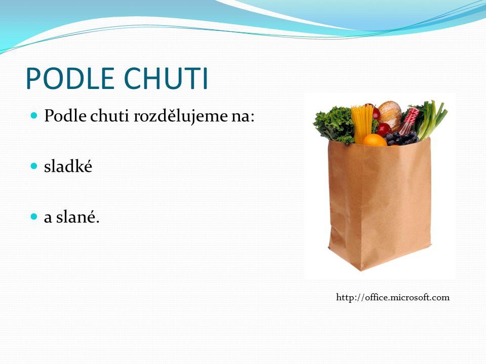 PODLE CHUTI Podle chuti rozdělujeme na: sladké a slané. http://office.microsoft.com