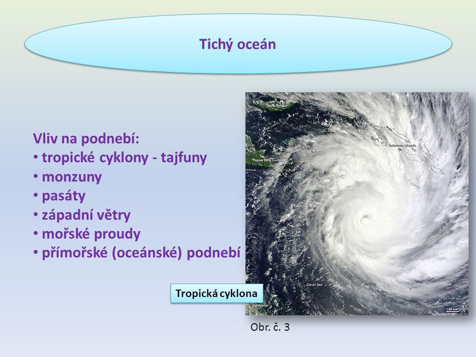 Vliv na podnebí: tropické cyklony - tajfuny monzuny pasáty západní větry mořské proudy přímořské (oceánské) podnebí Obr.