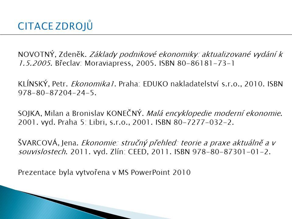 NOVOTNÝ, Zdeněk. Základy podnikové ekonomiky: aktualizované vydání k 1.5.2005.