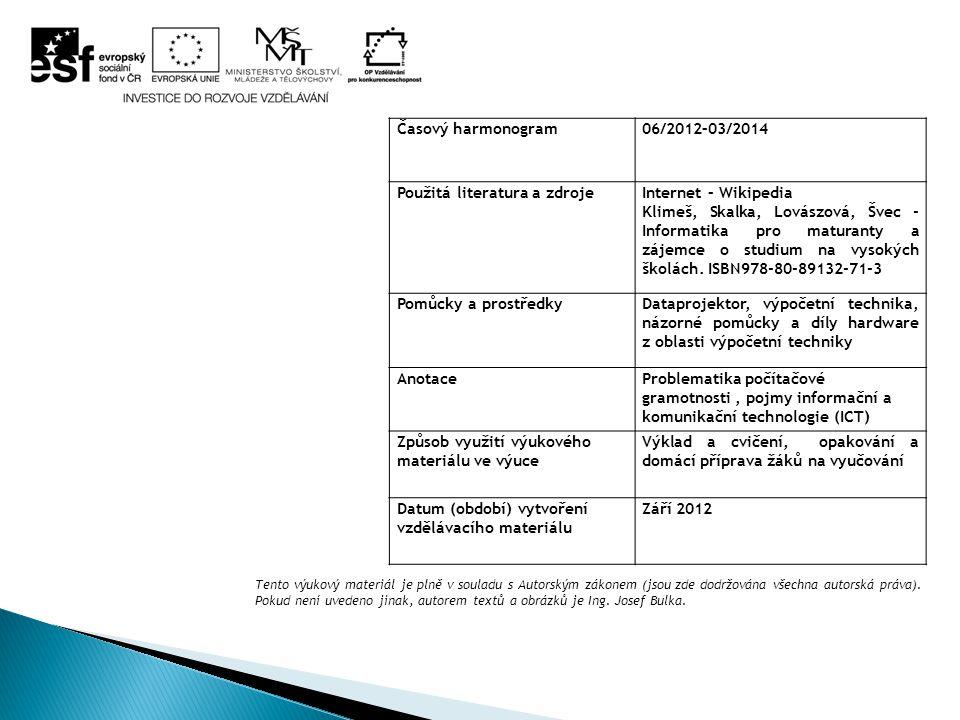 Časový harmonogram06/2012–03/2014 Použitá literatura a zdrojeInternet – Wikipedia Klimeš, Skalka, Lovászová, Švec - Informatika pro maturanty a zájemc