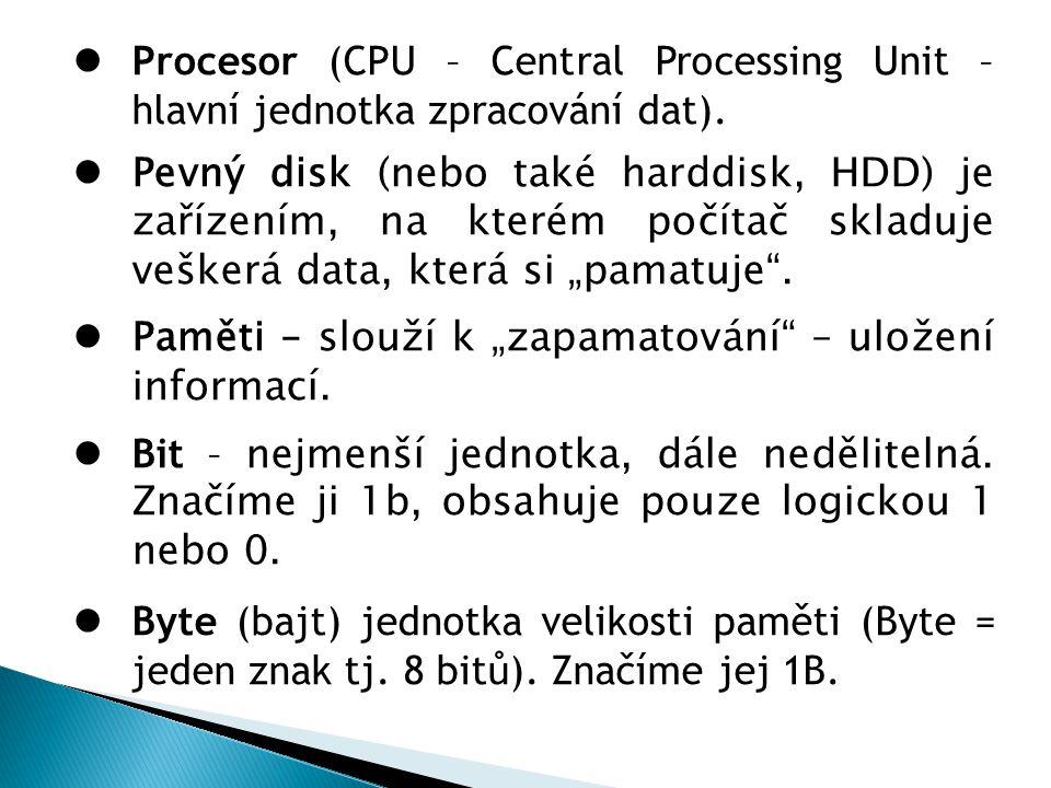 Procesor (CPU – Central Processing Unit – hlavní jednotka zpracování dat). Pevný disk (nebo také harddisk, HDD) je zařízením, na kterém počítač skladu