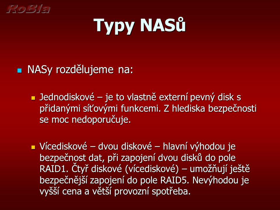 Typy NASů NASy rozdělujeme na: NASy rozdělujeme na: Jednodiskové – je to vlastně externí pevný disk s přidanými síťovými funkcemi.