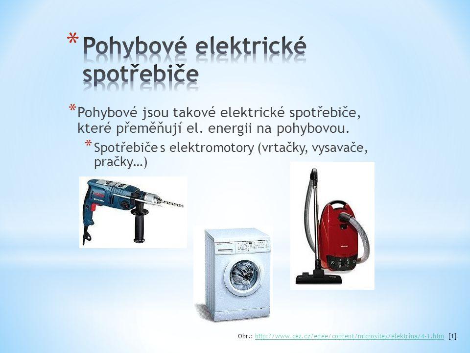 * Pohybové jsou takové elektrické spotřebiče, které přeměňují el. energii na pohybovou. * Spotřebiče s elektromotory (vrtačky, vysavače, pračky…) Obr.