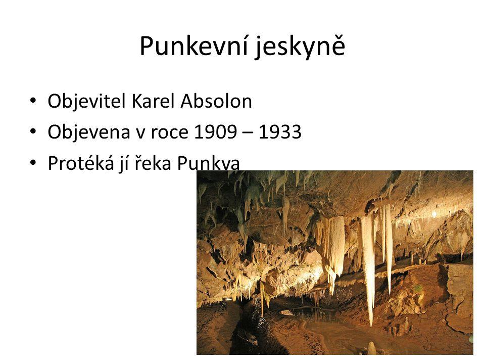 Punkevní jeskyně Objevitel Karel Absolon Objevena v roce 1909 – 1933 Protéká jí řeka Punkva