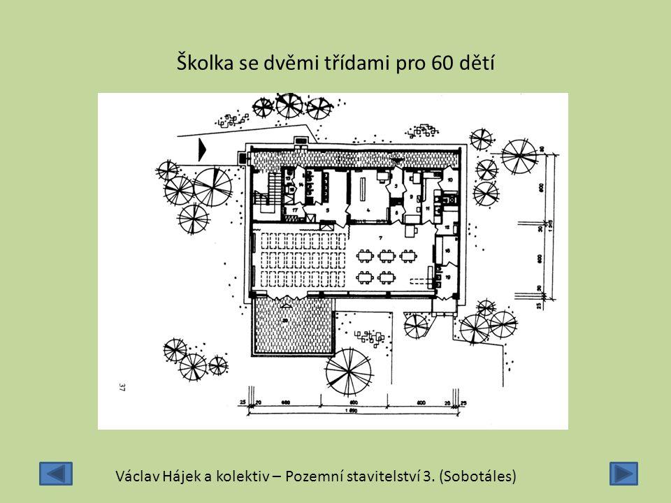 Školka se dvěmi třídami pro 60 dětí Václav Hájek a kolektiv – Pozemní stavitelství 3. (Sobotáles)