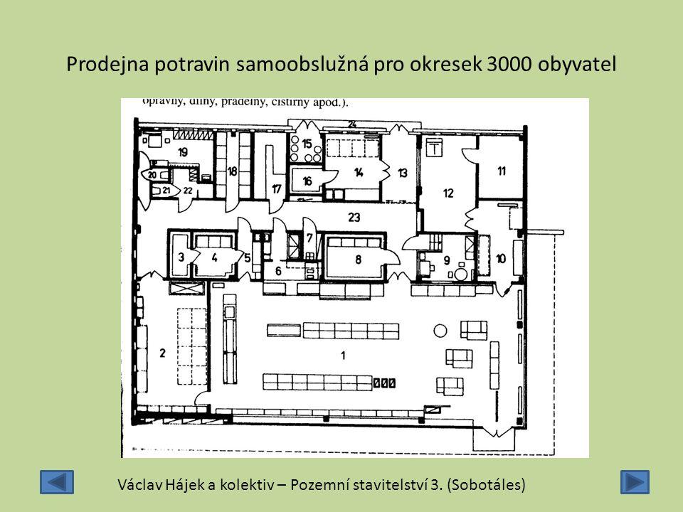 Prodejna potravin samoobslužná pro okresek 3000 obyvatel Václav Hájek a kolektiv – Pozemní stavitelství 3. (Sobotáles)