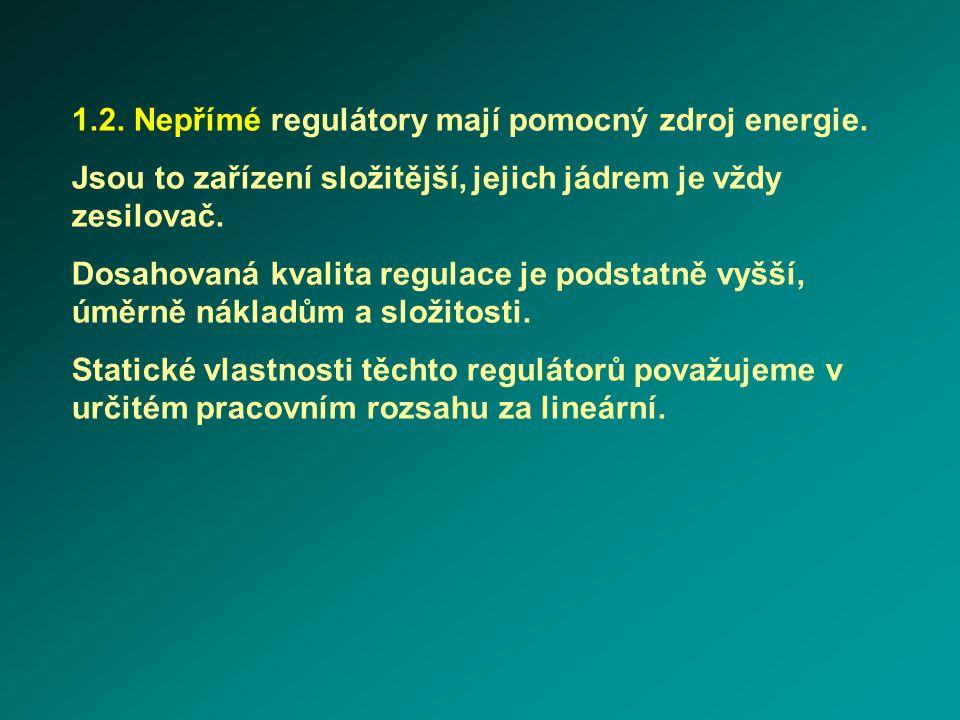 1.2. Nepřímé regulátory mají pomocný zdroj energie. Jsou to zařízení složitější, jejich jádrem je vždy zesilovač. Dosahovaná kvalita regulace je podst