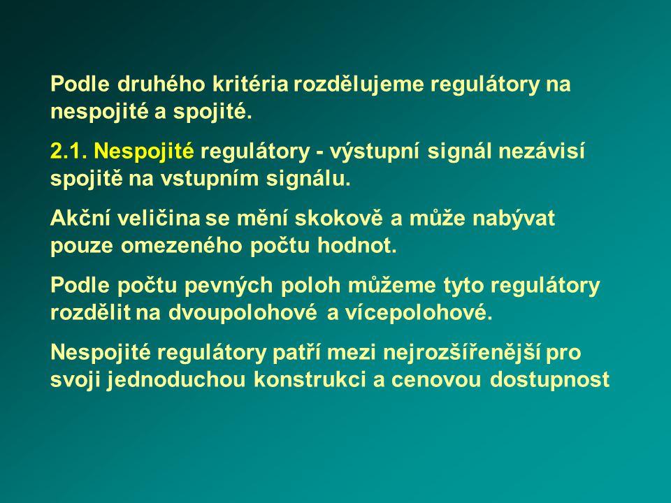 Podle druhého kritéria rozdělujeme regulátory na nespojité a spojité. 2.1. Nespojité regulátory - výstupní signál nezávisí spojitě na vstupním signálu