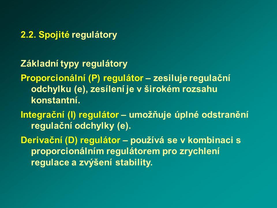 2.2. Spojité regulátory Základní typy regulátory Proporcionální (P) regulátor – zesiluje regulační odchylku (e), zesílení je v širokém rozsahu konstan