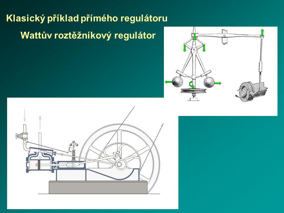 Klasický příklad přímého regulátoru Wattův roztěžníkový regulátor