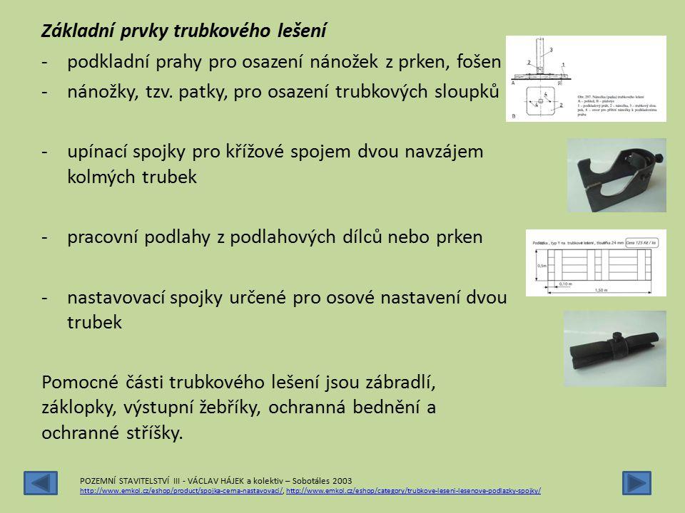 Základní prvky trubkového lešení -podkladní prahy pro osazení nánožek z prken, fošen -nánožky, tzv. patky, pro osazení trubkových sloupků -upínací spo