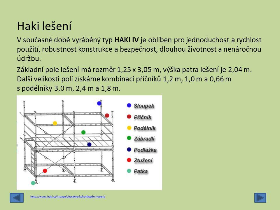 Haki lešení V současné době vyráběný typ HAKI IV je oblíben pro jednoduchost a rychlost použití, robustnost konstrukce a bezpečnost, dlouhou životnost