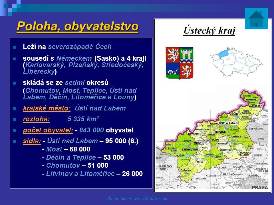 Povrch Krušné hory České Středohoří Milešovka Na hranicích kraje s Německem se nachází pohoří Krušné hory, které směrem na jih přecházejí v nížiny.