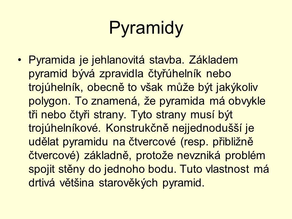 Pyramidy Pyramida je jehlanovitá stavba. Základem pyramid bývá zpravidla čtyřúhelník nebo trojúhelník, obecně to však může být jakýkoliv polygon. To z