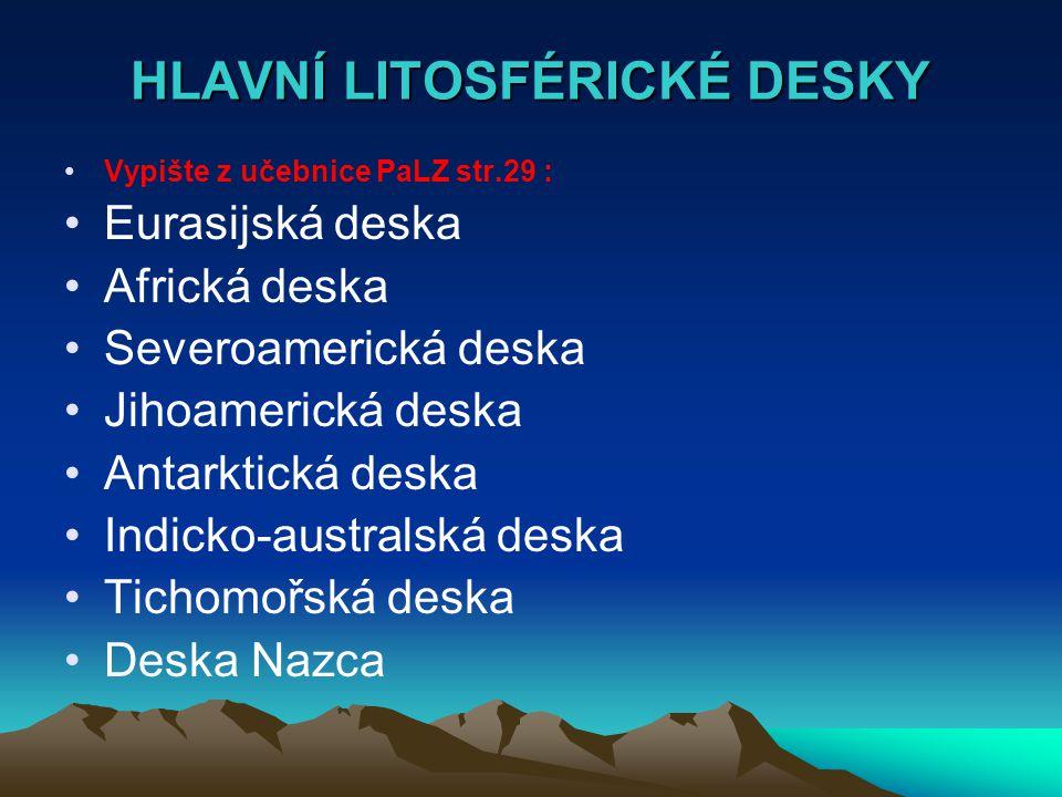 HLAVNÍ LITOSFÉRICKÉ DESKY Vypište z učebnice PaLZ str.29 : Eurasijská deska Africká deska Severoamerická deska Jihoamerická deska Antarktická deska Indicko-australská deska Tichomořská deska Deska Nazca