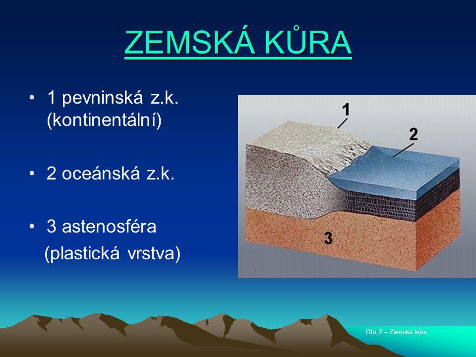 ZEMSKÁ KŮRA ZEMSKÁ KŮRA 1 pevninská z.k.(kontinentální) 2 oceánská z.k.