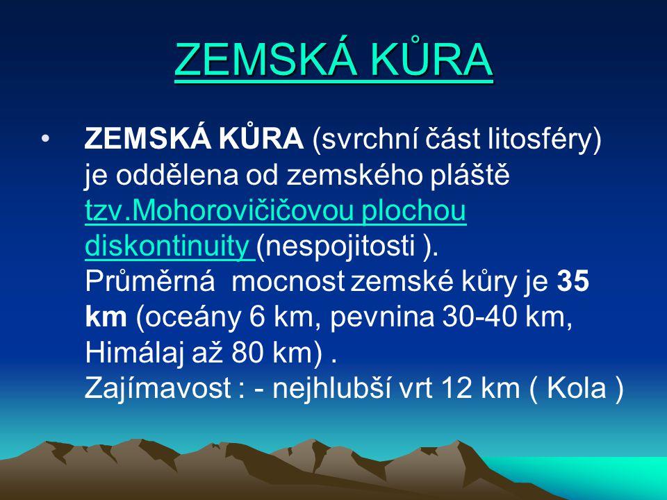 ZEMSKÁ KŮRA ZEMSKÁ KŮRA ZEMSKÁ KŮRA (svrchní část litosféry) je oddělena od zemského pláště tzv.Mohorovičičovou plochou diskontinuity (nespojitosti ).