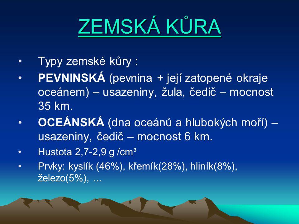 ZEMSKÁ KŮRA ZEMSKÁ KŮRA Typy zemské kůry : PEVNINSKÁ (pevnina + její zatopené okraje oceánem) – usazeniny, žula, čedič – mocnost 35 km.