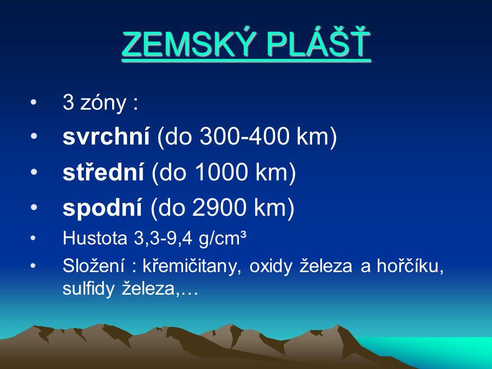 ZEMSKÝ PLÁŠŤ ZEMSKÝ PLÁŠŤ 3 zóny : svrchní (do 300-400 km) střední (do 1000 km) spodní (do 2900 km) Hustota 3,3-9,4 g/cm³ Složení : křemičitany, oxidy železa a hořčíku, sulfidy železa,…