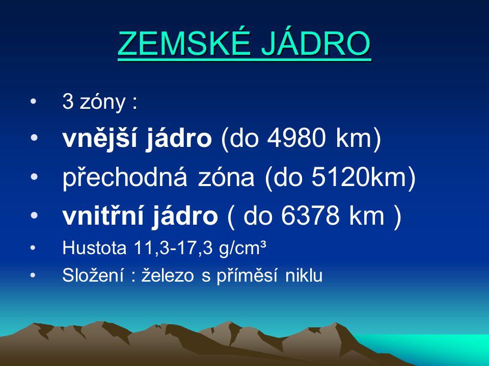 ZEMSKÉ JÁDRO ZEMSKÉ JÁDRO 3 zóny : vnější jádro (do 4980 km) přechodná zóna (do 5120km) vnitřní jádro ( do 6378 km ) Hustota 11,3-17,3 g/cm³ Složení : železo s příměsí niklu