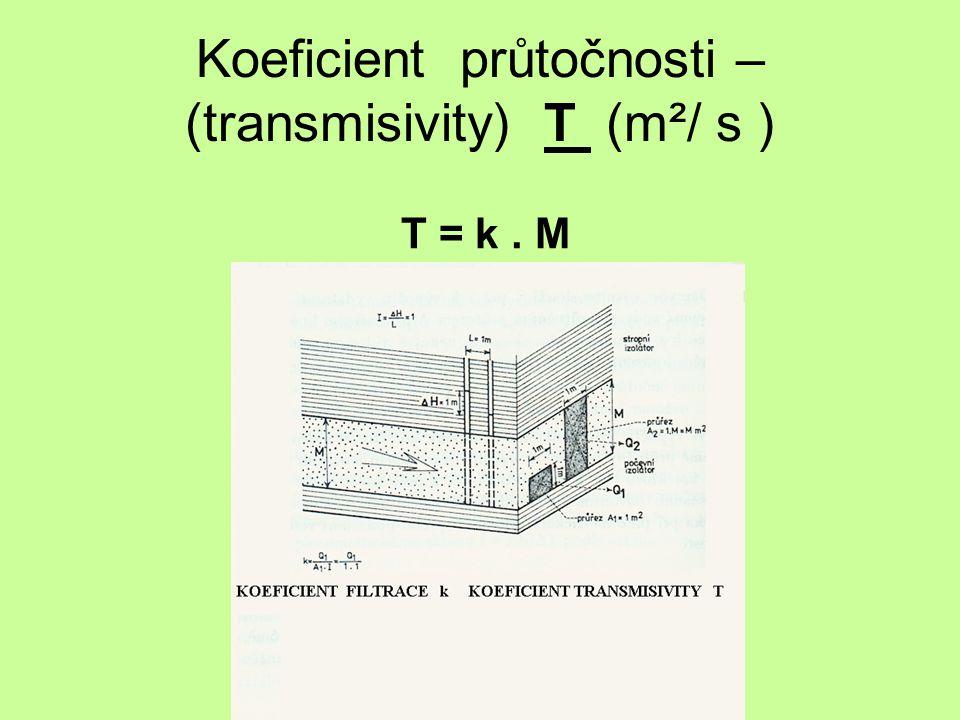 Koeficient průtočnosti – (transmisivity) T (m²/ s ) T = k. M