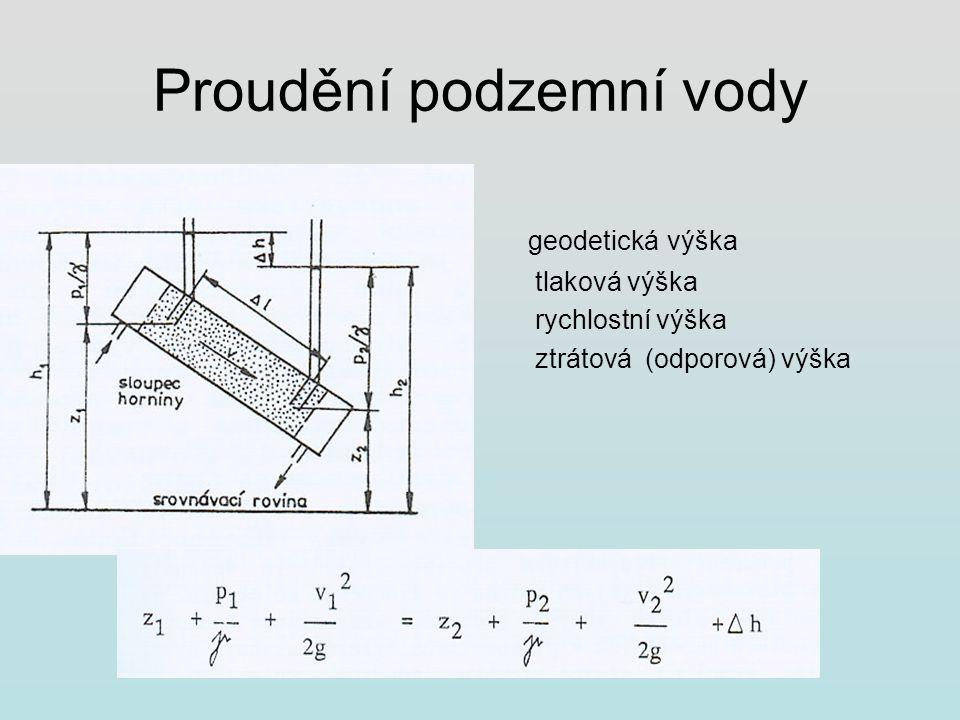 Proudění podzemní vody geodetická výška tlaková výška rychlostní výška ztrátová (odporová) výška