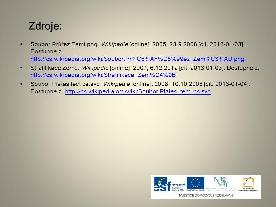 Zdroje: Soubor:Průřez Zemí.png. Wikipedie [online]. 2005, 23.9.2008 [cit. 2013-01-03]. Dostupné z: http://cs.wikipedia.org/wiki/Soubor:Pr%C5%AF%C5%99e