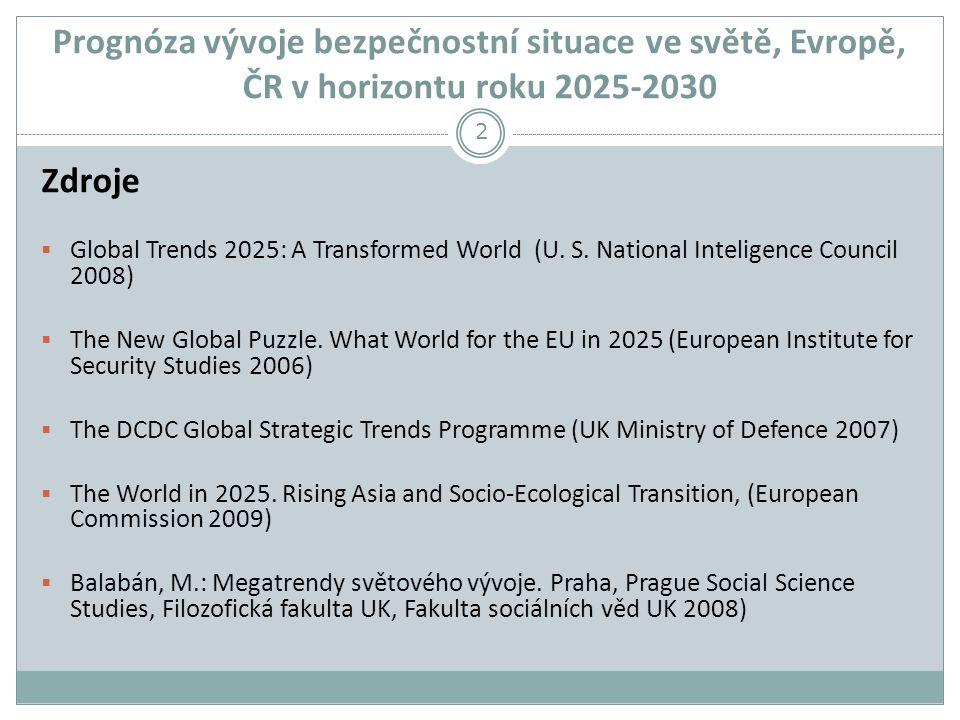 Prognóza vývoje bezpečnostní situace ve světě, Evropě, ČR v horizontu roku 2025-2030 Zdroje  Global Trends 2025: A Transformed World (U.