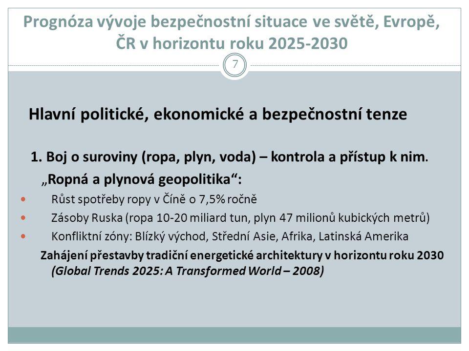 Prognóza vývoje bezpečnostní situace ve světě, Evropě, ČR v horizontu roku 2025-2030 Hlavní politické, ekonomické a bezpečnostní tenze 1.