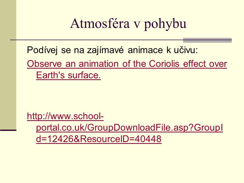 Atmosféra v pohybu Podívej se na zajímavé animace k učivu: Observe an animation of the Coriolis effect over Earth's surface. http://www.school- portal