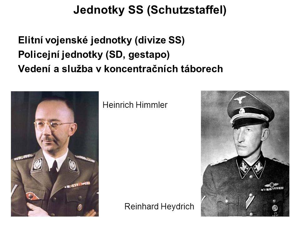 Jednotky SS (Schutzstaffel) Elitní vojenské jednotky (divize SS) Policejní jednotky (SD, gestapo) Vedení a služba v koncentračních táborech Heinrich Himmler Reinhard Heydrich