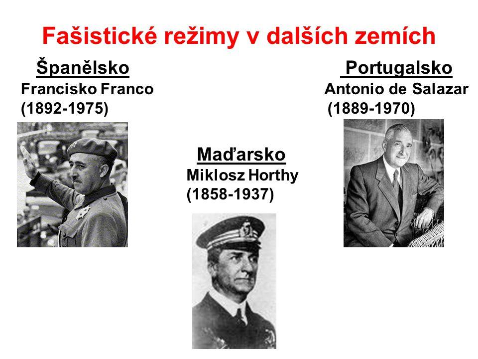 Fašistické režimy v dalších zemích Španělsko Portugalsko Francisko Franco Antonio de Salazar (1892-1975) (1889-1970) Maďarsko Miklosz Horthy (1858-1937)