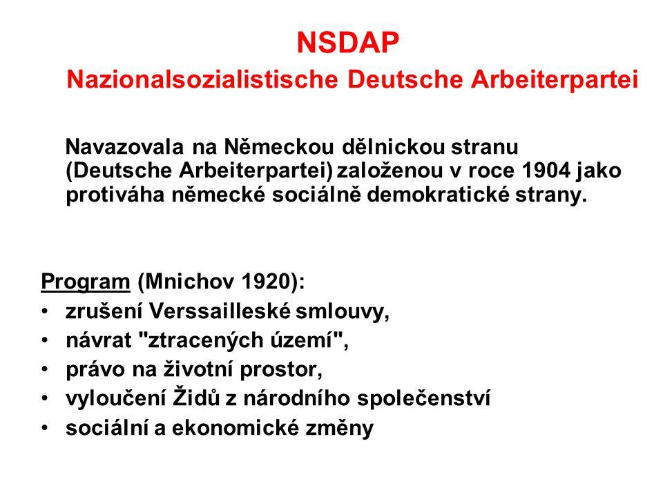 NSDAP Nazionalsozialistische Deutsche Arbeiterpartei Navazovala na Německou dělnickou stranu (Deutsche Arbeiterpartei) založenou v roce 1904 jako protiváha německé sociálně demokratické strany.