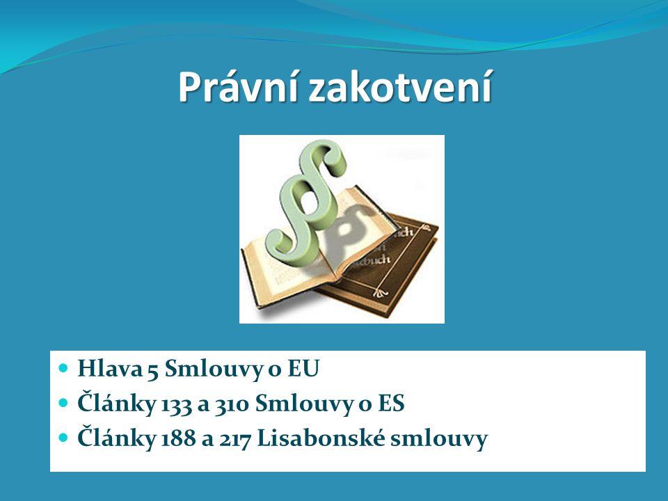 Právní zakotvení Hlava 5 Smlouvy o EU Články 133 a 310 Smlouvy o ES Články 188 a 217 Lisabonské smlouvy